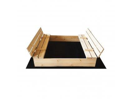 Dřevěné pískoviště s lavičkami 120 x 120 cm