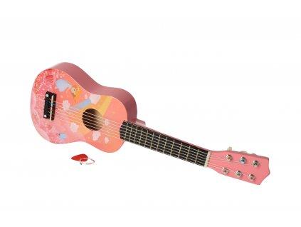 Dřevěná kytara růžová rainbow
