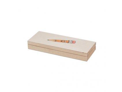 Dřevěná krabička na psací potřeby s tužkou