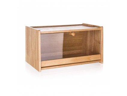Chlebník dřevěný BRILLANTE 38 x 22 x 20 cm s plastovým víkem