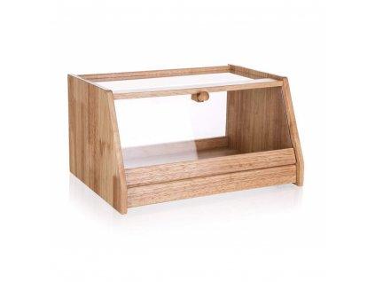 Chlebník dřevěný BRILLANTE 38 x 28 x 20 cm s plastovým víkem