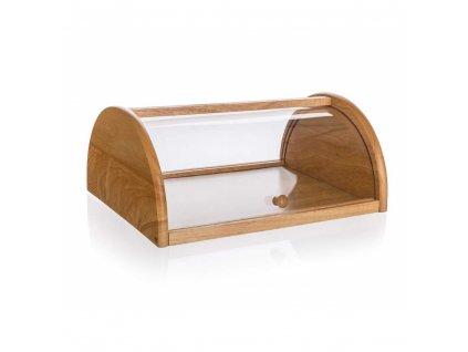 Chlebník dřevěný BRILLANTE 36 x 27 x 15 cm s plastovým víkem