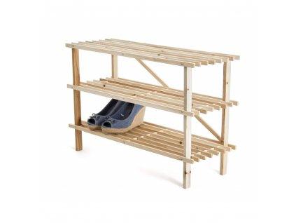 Dřevěný třípatrový botník - 74 x 48,5 x 26 cm