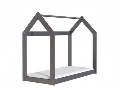 Dřevěná postel domeček 160 x 80 cm šedá + rošt