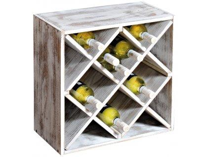 Dřevěný stojan na víno IV - 50 x 50 x 25 cm