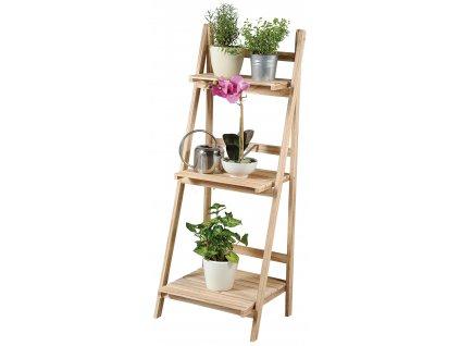 Dřevěný třípatrový regál na květiny