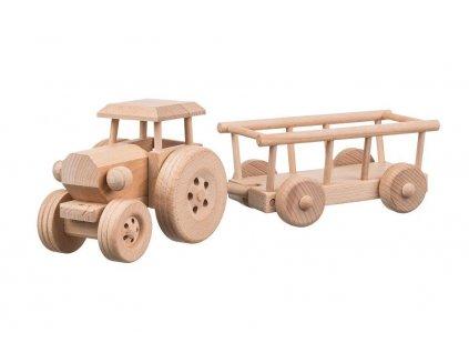 Dřevěný traktor s vlečkou - velký