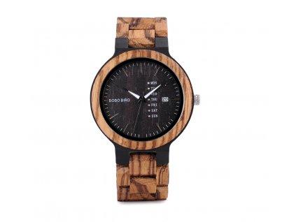 Dřevěné hodinky Bobo Bird s datumovkou - tmavé