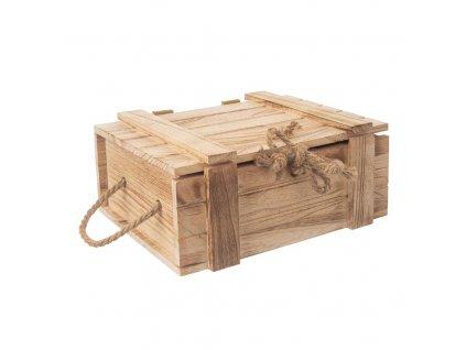Dřevěná truhla s provázkem 36 x 26 x 16 cm