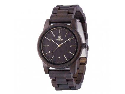 Dřevěné hodinky Uwood - tmavě hnědé