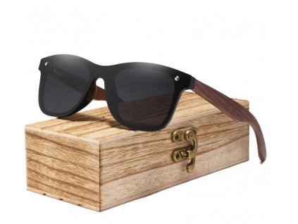 Dřevěné sluneční brýle Kingseven - černé