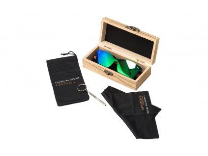 Dřevěné sluneční brýle Kingseven - zelené