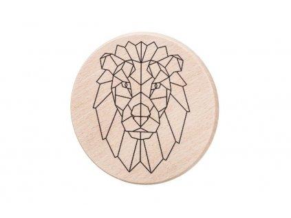 Dřevěný podtácek - Geometrický lev