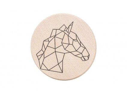Dřevěný podtácek - Geometrický kůň