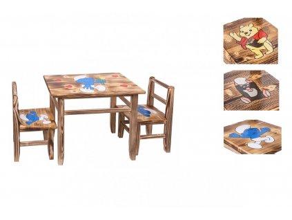Dětský dřevěný stoleček s židličkami