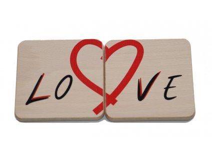 """Dřevěný podtácek """"Love"""" (2 ks)"""