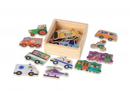 Dřevěné magnetky dopravní prostředky