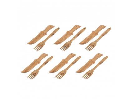 Dřevěný příbor - 6 párů v balení