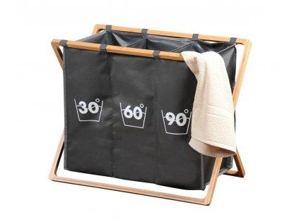 Dělený koš na prádlo s bambusovým stojanem