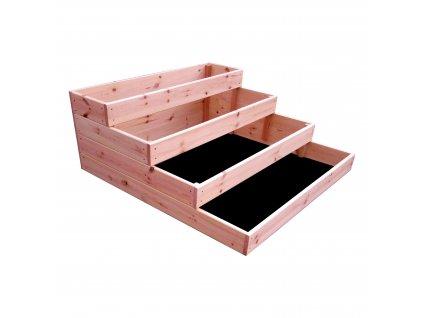 4-patrový dřevěný záhon 120 x 120 x 40 cm