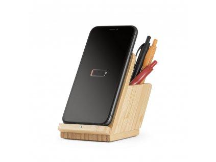 Bambusový stojánek na mobil s bezdrátovou nabíječkou