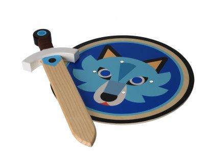 Dřevěný štít s mečem - Vlk