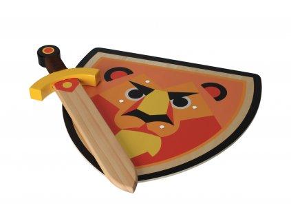 Dřevěný štít s mečem - Lev