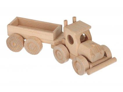 Dřevěné nákladní auto s vlečkou