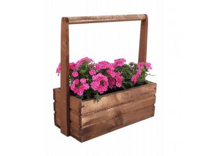 Velký dřevěný květináč s rukojetí - hnědý