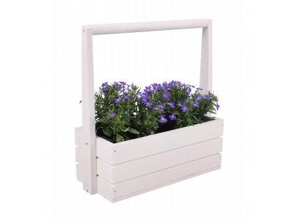 Velký dřevěný květináč s rukojetí - bílý