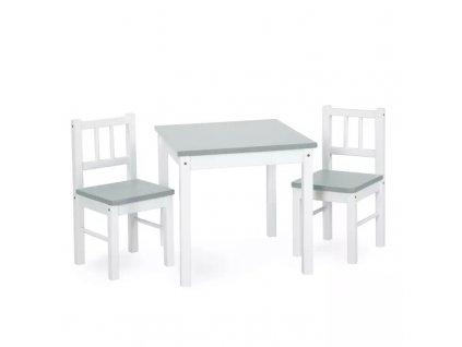 Dřevěný dětský stoleček s židličkami - šedobílý