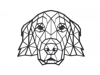 Dřevěný geometrický obraz - Zlatý retrívr 65 cm