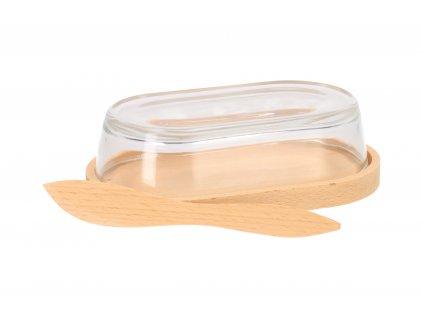 Dřevěná máslenka se skleněným poklopem a nožem