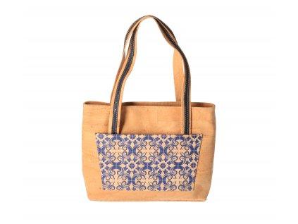 Dámská korková kabelka přes rameno s modrým vzorem