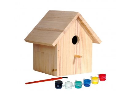 Dřevěná ptačí budka k dozdobení 17,5 x 15,5 x 20,5 cm