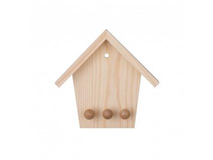 Dřevěný věšák na klíče - domeček