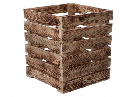 Opálená dřevěná bedýnka 30 x 30 x 35 cm