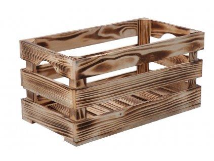 Opálená dřevěná bedýnka 40 x 22 x 20 cm