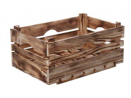 Opálená dřevěná bedýnka 40 x 26 x 18 cm