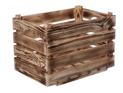 Opálená dřevěná bedýnka 40 x 26 x 26 cm