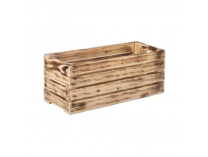 Opálená dřevěná bedýnka 60 x 22 x 24 cm