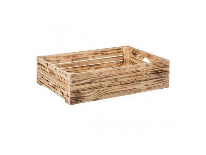 Opálená dřevěná bedýnka 60 x 39 x 15 cm