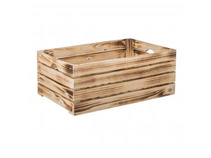 Opálená dřevěná bedýnka 60 x 39 x 24 cm