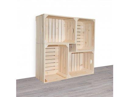 Dřevěné bedýnky knihovna 100x100x24 cm
