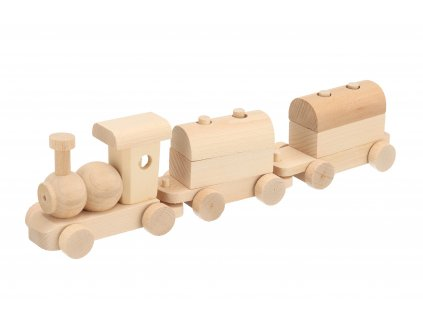 Dřevěný vláček s vagóny
