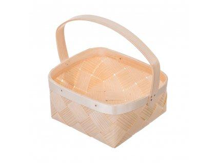 Dřevěný košík z dýhy čtvercový