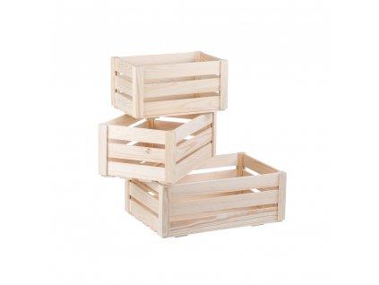Dřevěné bedýnky borovice - komplet 3 ks
