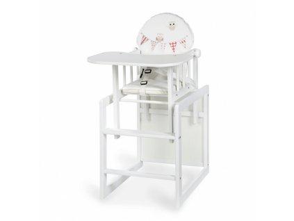 Jídelní židlička Sovičky bílá