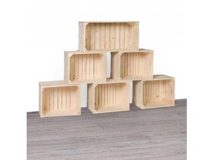 Dřevěné bedýnky knihovna 140x90x24 cm