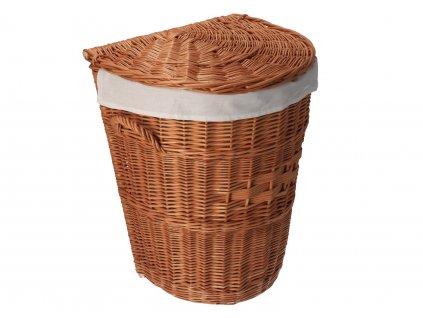 Proutěný koš na prádlo zaoblený obšitý